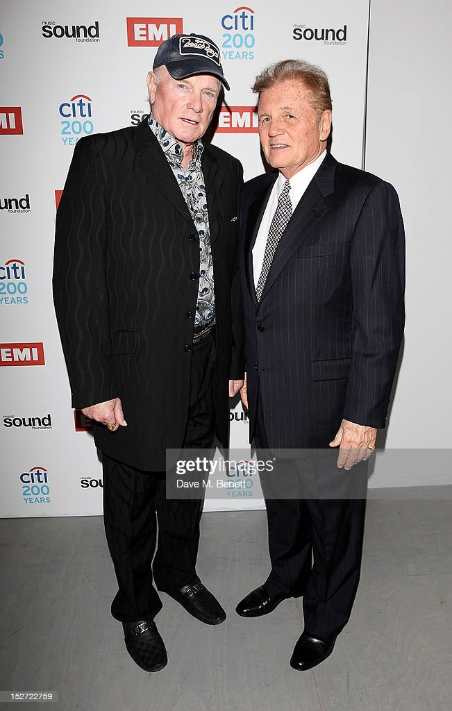 Mike Love (L) and Bruce Johnston of The Beach Boys arrive at the EMI Music Sound Foundation fundraiser at Somerset House on September 24, 2012 in London, England.