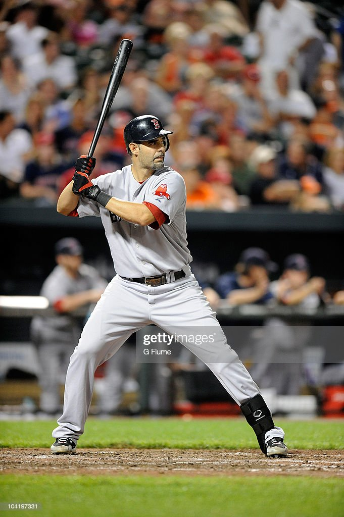 Mike Lowell of the Boston Red Sox bats against the Baltimore Orioles at Camden Yards on August 31 2010 in Baltimore Maryland