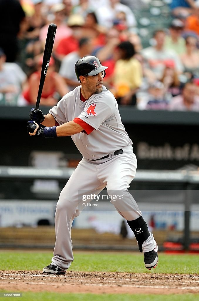 Mike Lowell of the Boston Red Sox bats against the Baltimore Orioles at Camden Yards on May 2 2010 in Baltimore Maryland