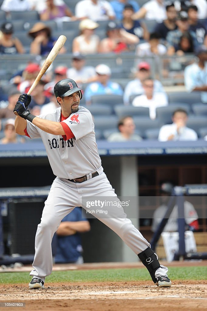 Mike Lowell of the Boston Red Sox bats during the game against the New York Yankees at Yankee Stadium in the Bronx New York on August 9 2010 The Red...