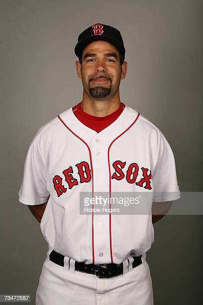 Mike Lowell of the Boston Red Sox poses during photo day at City of Palms Park on February 24 2007 in Ft Myers Florida