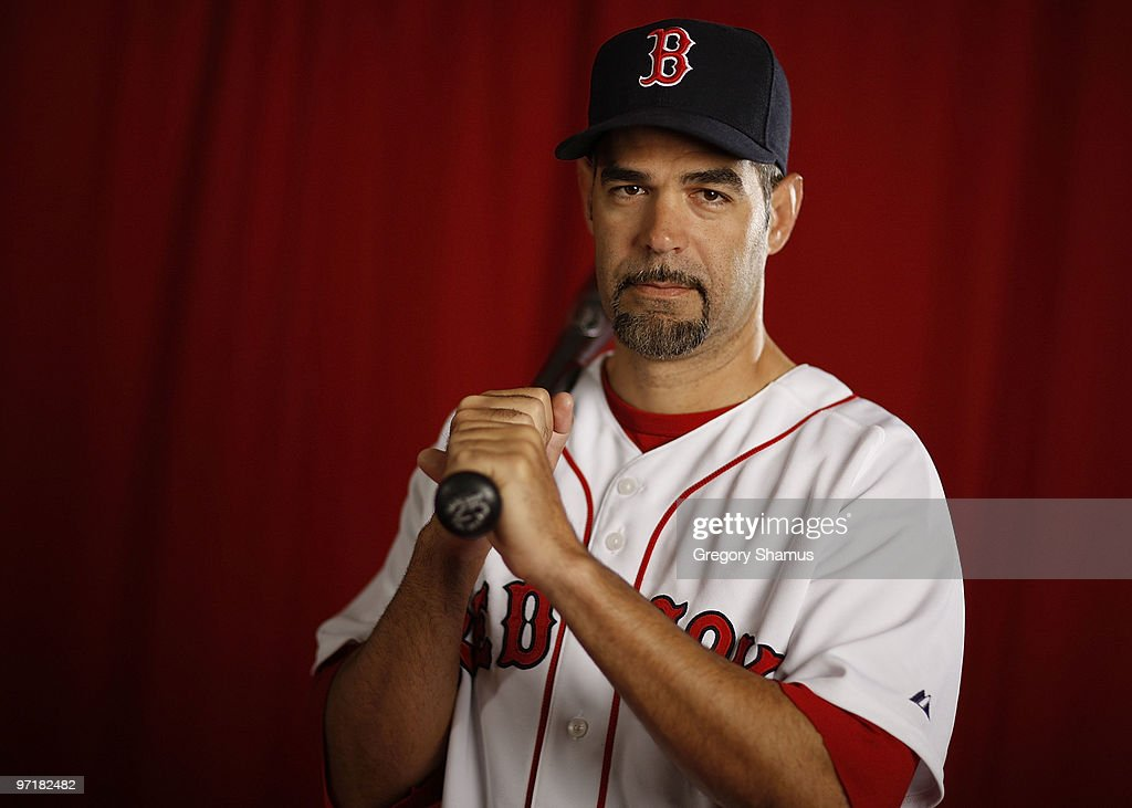 Mike Lowell of the Boston Red Sox poses during photo day at the Boston Red Sox Spring Training practice facility on February 28 2010 in Ft Myers...
