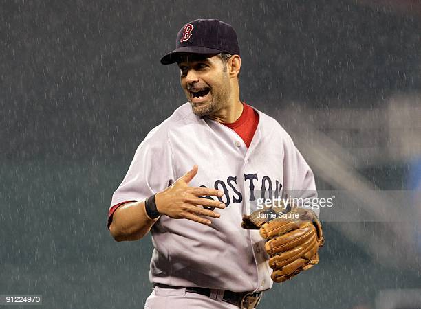 Mike Lowell of the Boston Red Sox reacts during the game against the Kansas City Royals on September 21 2009 at Kauffman Stadium in Kansas City...
