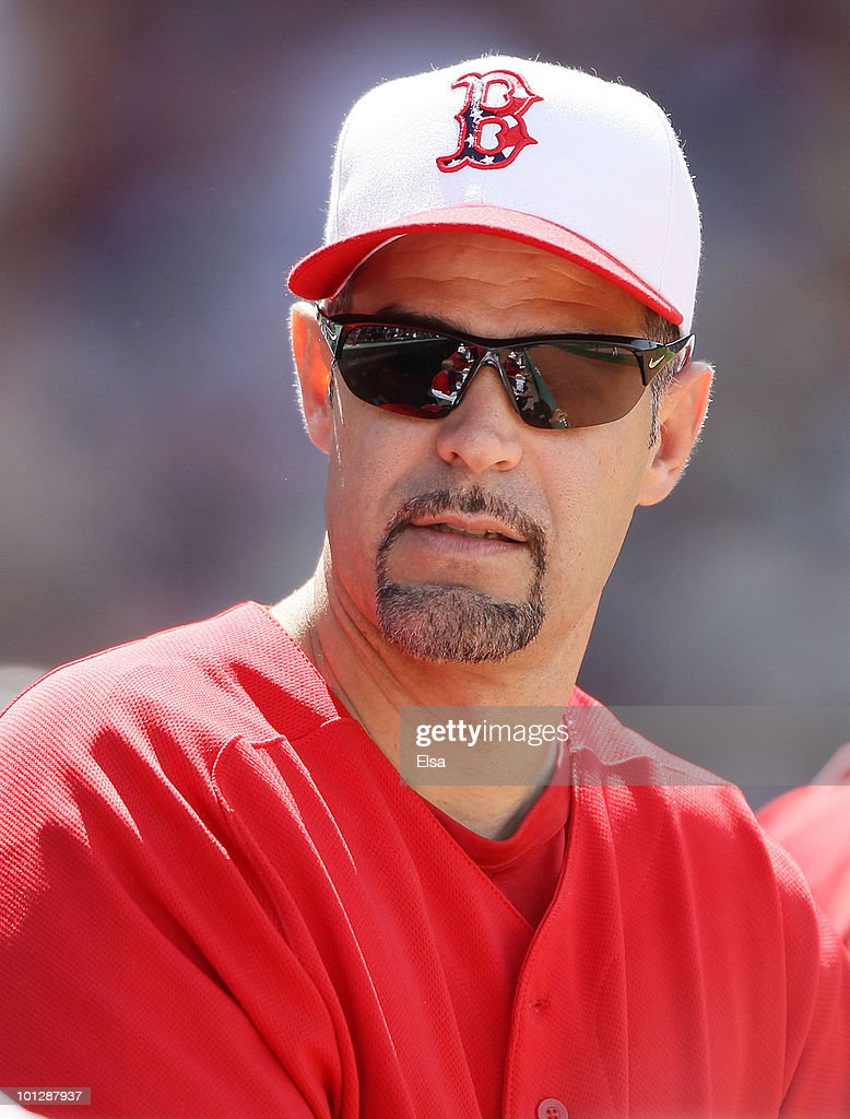 Mike Lowell of the Boston Red Sox wears a special edition hat in honor of Memorial Day as the Red Sox take on the Kansas City Royals on May 30 2010...