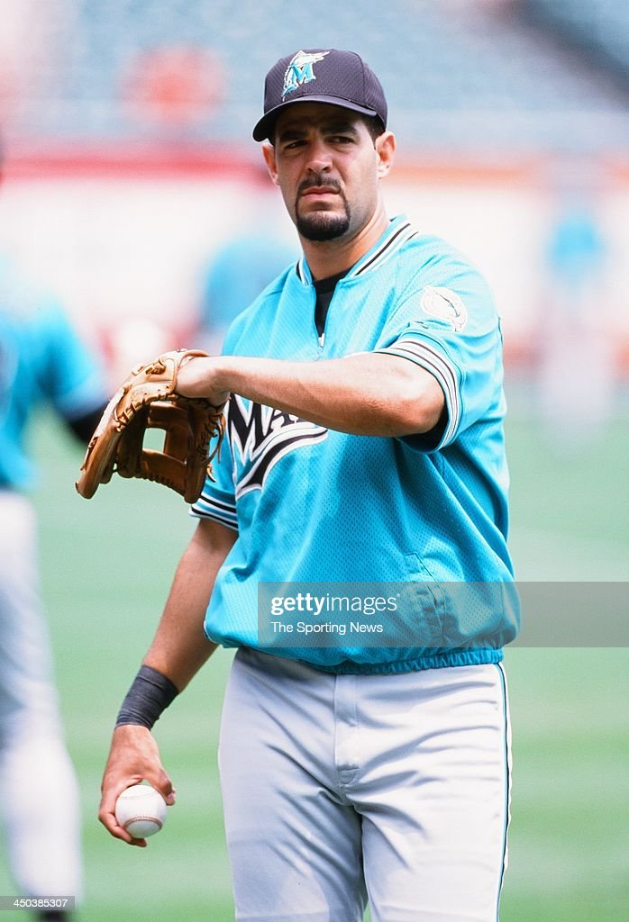 Mike Lowell of the Florida Marlins before the game against the Baltimore Orioles at Oriole Park at Camden Yards on July 16 2000 in Baltimore Maryland