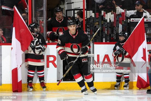Mike Lundin of the Ottawa Senators jumps on the ice prior to a game against the Winnipeg Jets at Scotiabank Place on February 9 2013 in Ottawa...