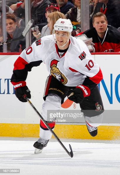 Mike Lundin of the Ottawa Senators plays the puck against the New Jersey Devils during the game at the Prudential Center on February 18 2013 in...