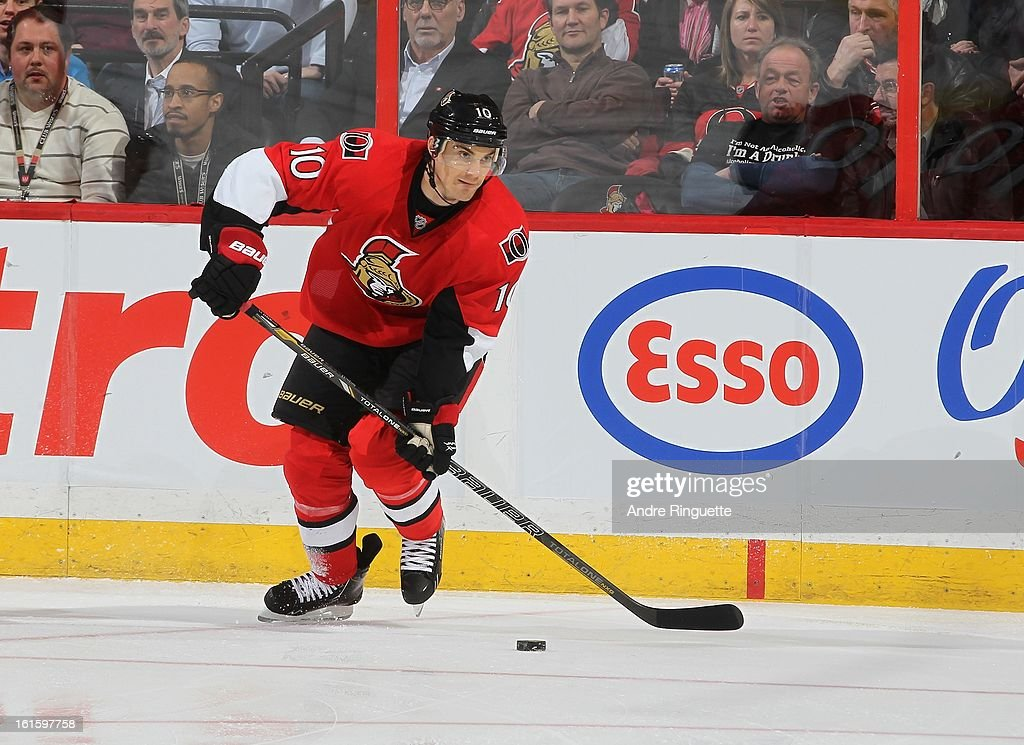 Mike Lundin #10 of the Ottawa Senators skates against the Carolina Hurricanes on February 7, 2013 at Scotiabank Place in Ottawa, Ontario, Canada.