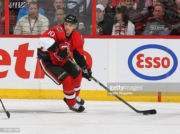 Mike Lundin of the Ottawa Senators skates against the Carolina Hurricanes on February 7 2013 at Scotiabank Place in Ottawa Ontario Canada