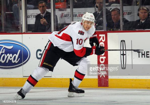 Mike Lundin of the Ottawa Senators skates against the New Jersey Devils at the Prudential Center on February 18 2013 in Newark New Jersey The...