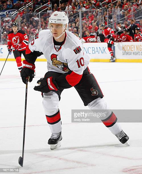 Mike Lundin of the Ottawa Senators skates against the New Jersey Devils during the game at the Prudential Center on February 18 2013 in Newark New...