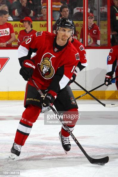 Mike Lundin of the Ottawa Senators skates with the puck during warmup prior to the game against the Pittsburgh Penguins in Game Three of the Eastern...