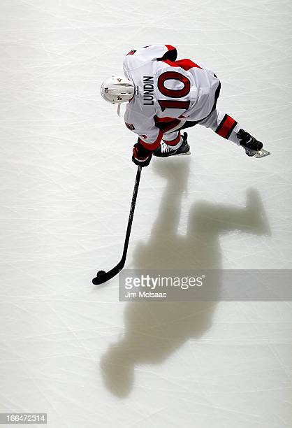 Mike Lundin of the Ottawa Senators warms up before a game against the New Jersey Devils at the Prudential Center on April 12 2013 in Newark New Jersey