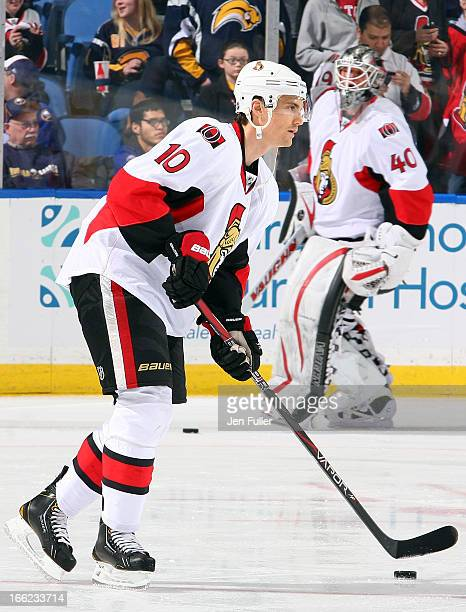 Mike Lundin of the Ottawa Senators warms up before playing the Buffalo Sabres on April 05 2013 at the First Niagara Center in Buffalo New York