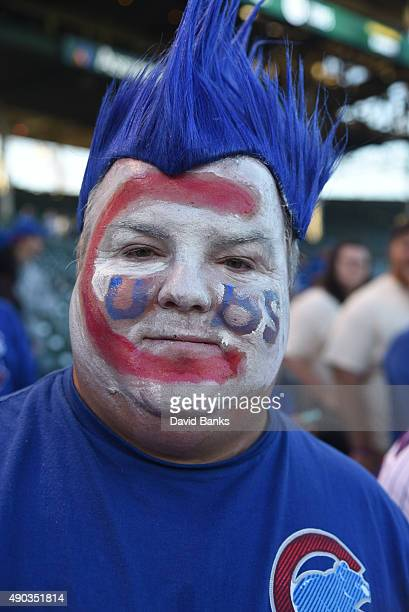 Mike Lyp a fan looks around the field before the game between the Chicago Cubs and the Pittsburgh Pirates on September 27 2015 at Wrigley Field in...