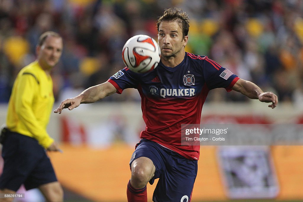 Mike Magee Chicago Fire in action during the New York Red Bulls Vs Chicago Fire Major League Soccer regular season match at Red Bull Arena Harrison...