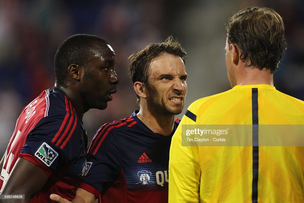 Mike Magee Chicago Fire reacts to officials after a penalty was awarded to the New York Red Bulls during the New York Red Bulls Vs Chicago Fire Major...