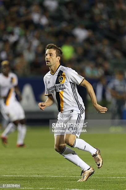 Mike Magee of Los Angeles during the CONCACAF Champions League match between LA Galaxy and Santos Laguna at StubHub Center on February 24 2016 in...