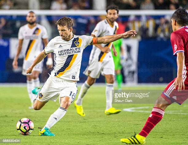 Mike Magee of Los Angeles Galaxy crosses the ball during Los Angeles Galaxy's 2016 US Open Cup Semifinal match against FC Dallas at the StubHub...