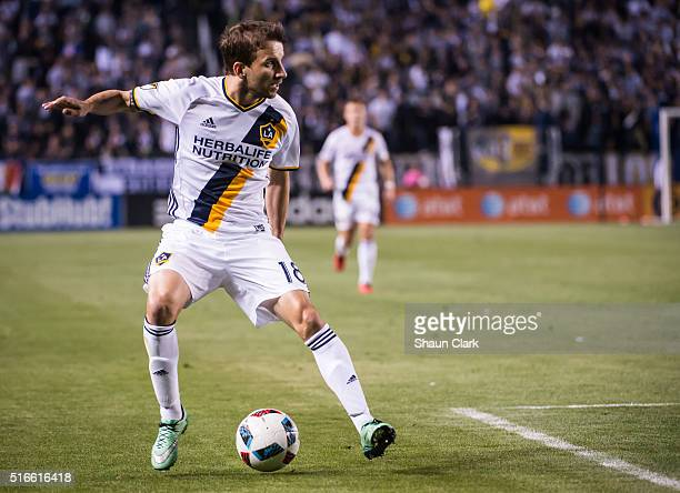 Mike Magee of Los Angeles Galaxy during Los Angeles Galaxy's MLS match against San Jose Earthquakes at the StubHub Center on March 19 2016 in Carson...