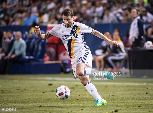 Mike Magee of Los Angeles Galaxy during Los Angeles Galaxy's MLS match against Colorado Rapids at the StubHub Center on June 22 2016 in Carson...