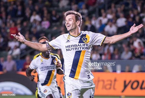 Mike Magee of Los Angeles Galaxy shows his frustration during Los Angeles Galaxy's MLS match against Columbus Crew at the StubHub Center on September...