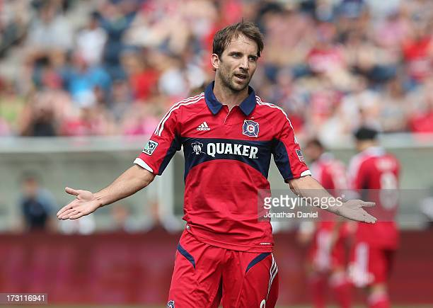 Mike Magee of the Chicago Fire complains to a referee during an MLS match against Sporting Kansas City at Toyota Park on July 7 2013 in Bridgeview...