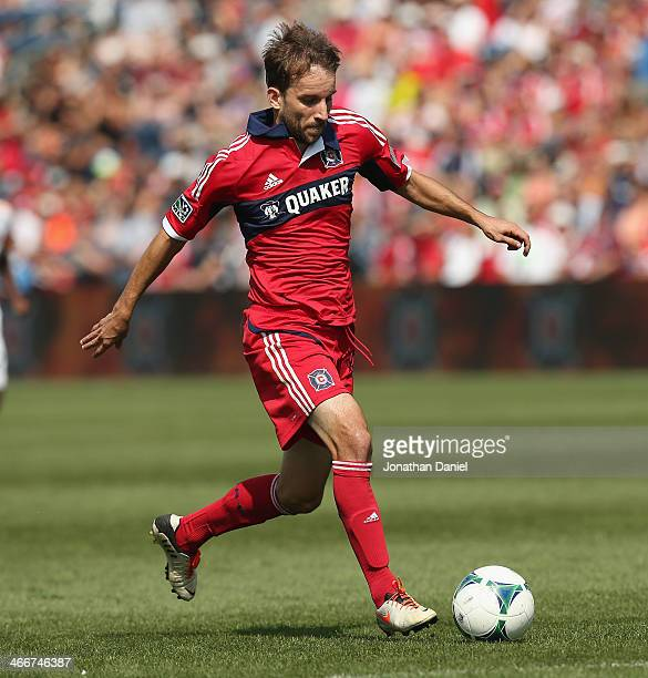 Mike Magee of the Chicago Fire moves a against the Houston Dynamo during an MLS match at Toyota Park on September 1 2013 in Bridgeview Illinois The...
