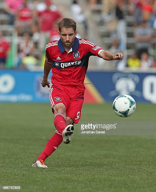 Mike Magee of the Chicago Fire passes against the Houston Dynamo during an MLS match at Toyota Park on September 1 2013 in Bridgeview Illinois The...