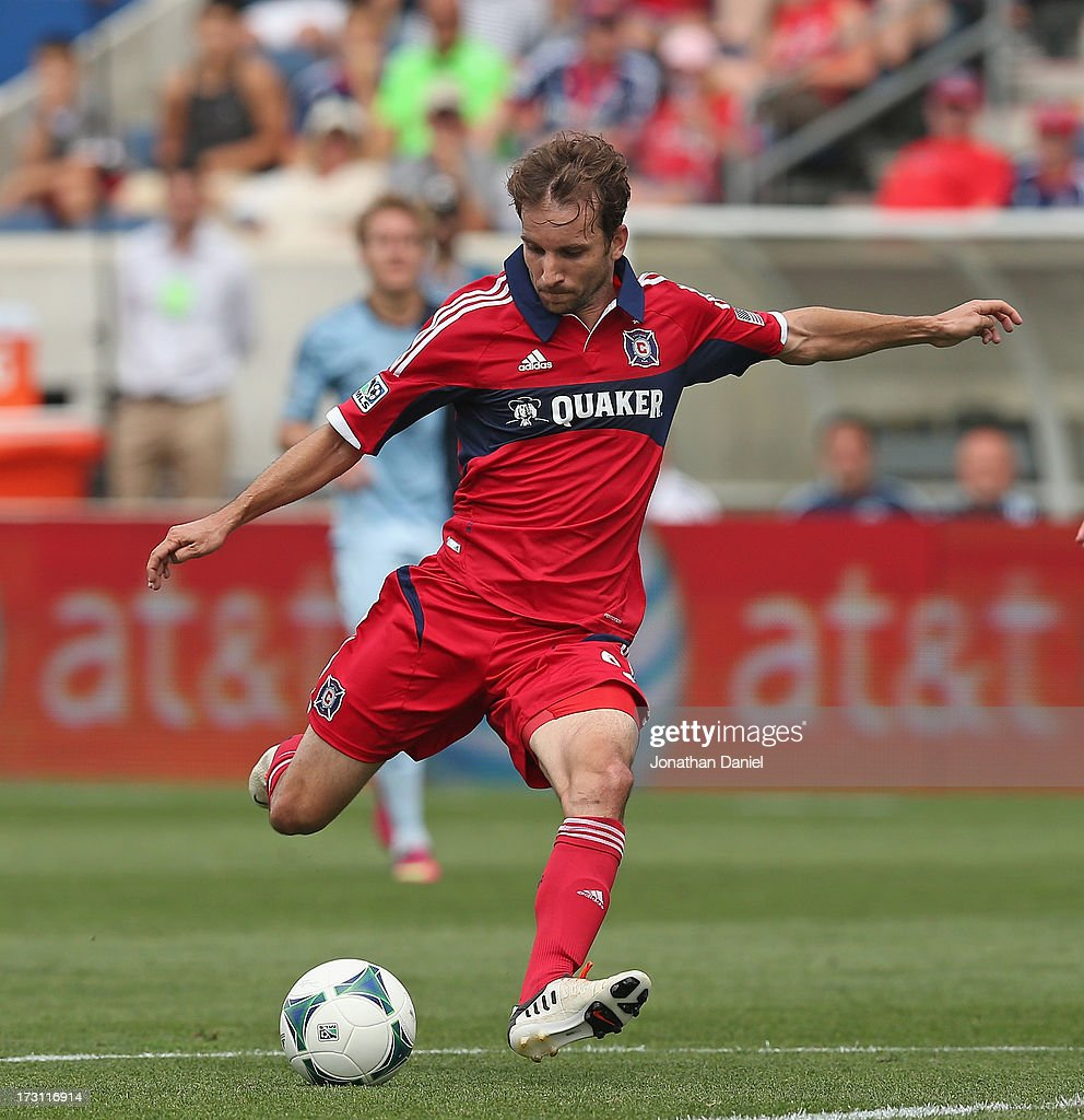 Mike Magee of the Chicago Fire scores a first half goal against Sporting Kansas City during an MLS match at Toyota Park on July 7 2013 in Bridgeview...