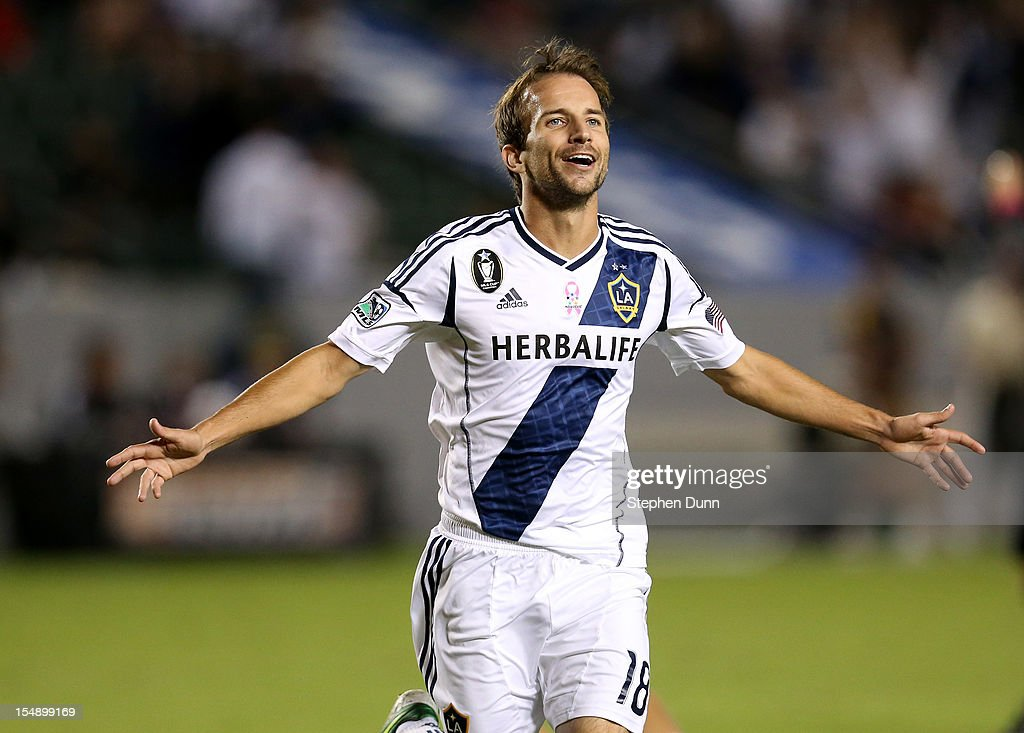 Mike Magee of the Los Angeles Galaxy celebrates after scoring the game's only goal against the Seattle Sounders at The Home Depot Center on October...