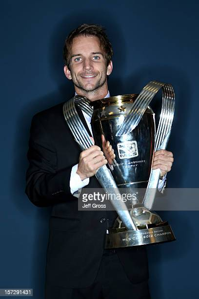 Mike Magee of the Los Angeles Galaxy poses after winning the 2012 MLS Cup 31 against the Houston Dynamo at The Home Depot Center on December 1 2012...