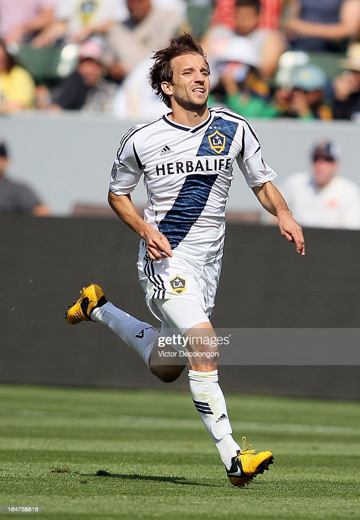 Mike Magee #18 of the Los Angeles Galaxy pursues the ball during the MLS match against Chivas USA at The Home Depot Center on March 17, 2013 in Carson, California. Chivas USA and the Los Angeles Galaxy played to a 1-1 draw.