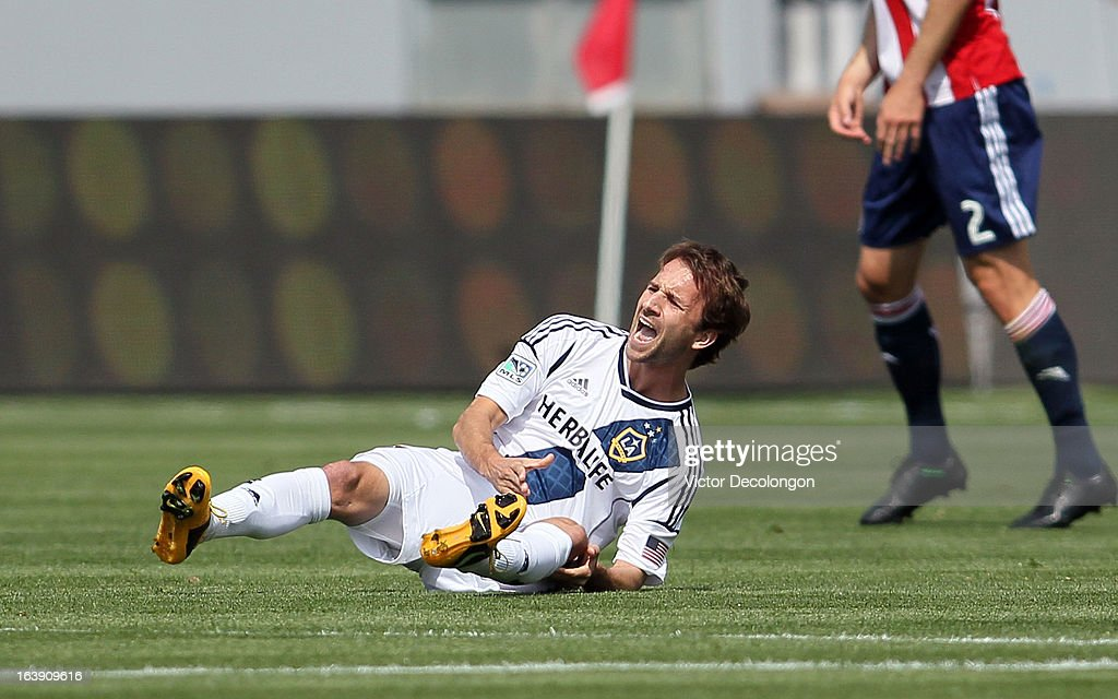 Mike Magee #18 of the Los Angeles Galaxy reacts after taking a boot to his knee during the MLS match against Chivas USA at The Home Depot Center on March 17, 2013 in Carson, California. Chivas USA and the Los Angeles Galaxy played to a 1-1 draw.