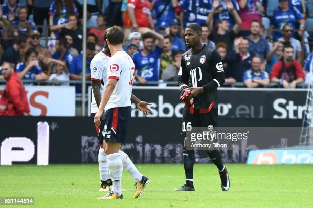 Mike Maignan goalkeeper of Lille is send off during the Ligue 1 match between Racing Club Strasbourg and Lille OSC at Stade de la Meinau on August 13...