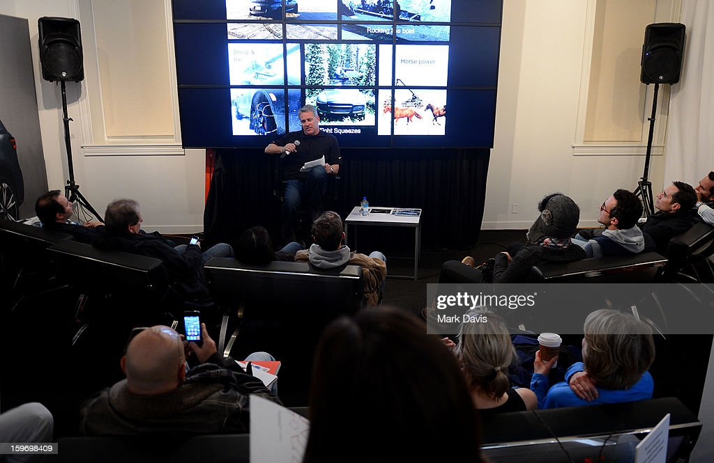 Mike Majeski of 'Pursuit Systems' speaks to the audience at the Acura Master Class 'Cue Car Chase' on January 18, 2013 in Park City, Utah.