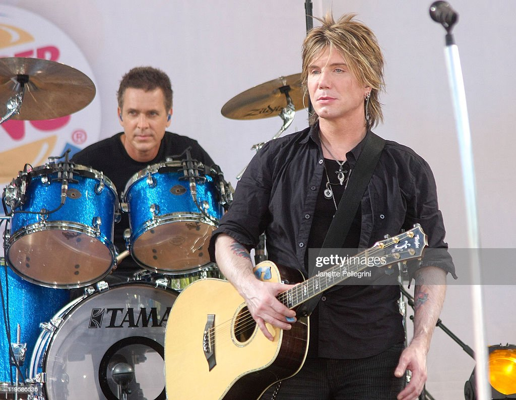 Mike Malinin and John Rzeznik of the Goo Goo Dolls perform on ABC's 'Good Morning America' at Rumsey Playfield, Central Park on July 22, 2011 in New York City.