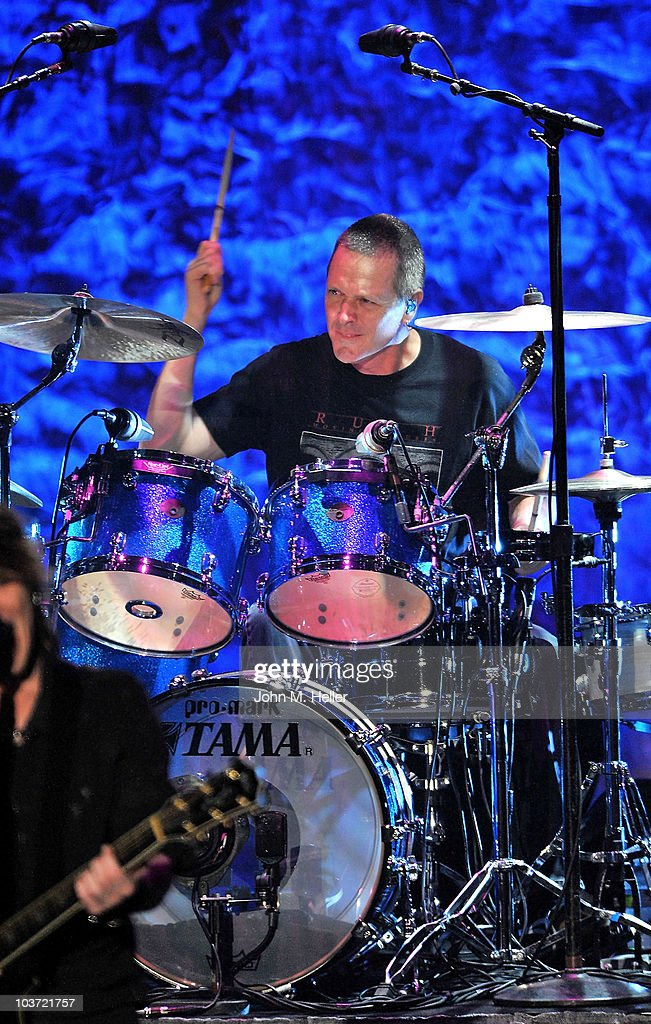 Mike Malinin Drummer for the Goo Goo Dolls performs at the Greek Theater on August 29, 2010 in Los Angeles, California.