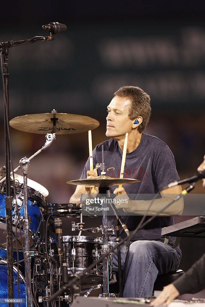 Mike Malinin drummer for The Goo Goo Dolls performs during a concert after the Los Angeles Angels of Anaheim game against the Tampa Bay Rays on July 28, 2012 at Angel Stadium in Anaheim, California. The Rays won the game 3-0.