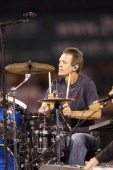 Mike Malinin drummer for The Goo Goo Dolls performs during a concert after the Los Angeles Angels of Anaheim game against the Tampa Bay Rays on July...
