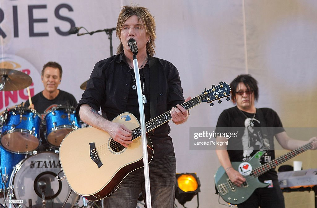 Mike Malinin, John Rzeznik and Robby Takac of the Goo Goo Dolls perform on ABC's 'Good Morning America' at Rumsey Playfield, Central Park on July 22, 2011 in New York City.