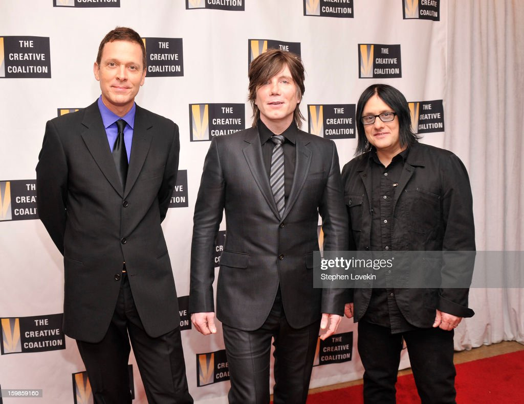 Mike Malinin, Johnny Rzeznik and Robby Takac of the band Goo Goo Dolls attend The Creative Coalition's 2013 Inaugural Ball at the Harman Center for the Arts on January 21, 2013 in Washington, United States.