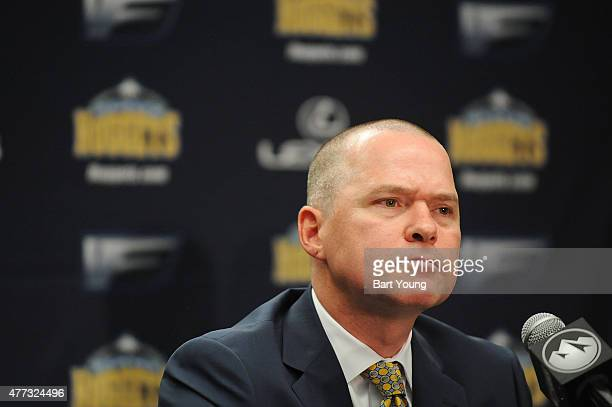 Mike Malone the Denver Nuggets new head coach speaks with the media at a press conference on June 16 2015 at the Pepsi Center in Denver Colorado NOTE...