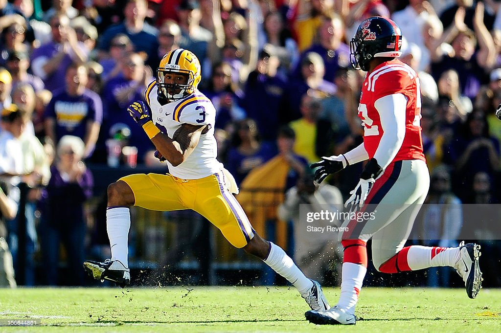 Mike Marry #52 of the Ole Miss Rebels pursues Odell Beckham Jr. #3 of the LSU Tigers during a game at Tiger Stadium on November 17, 2012 in Baton Rouge, Louisiana.