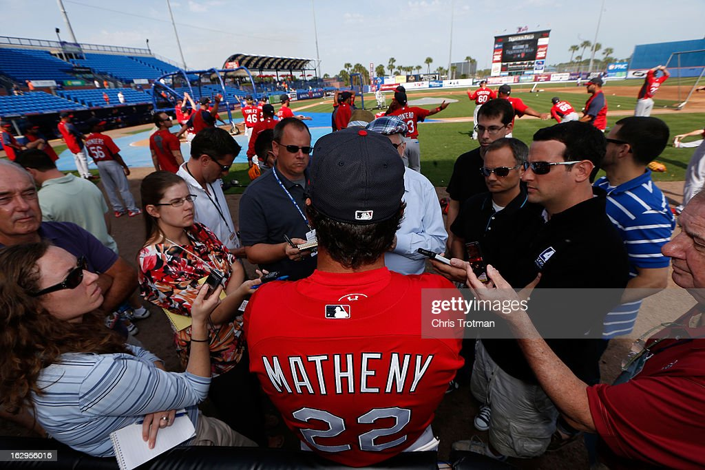 Mike Matheny the manager of the St. Louis Cardinals talks to the media prior to the game against the New York Mets at Tradition Field on February 27, 2013 in Port St. Lucie, Florida.