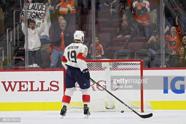Mike Matheson of the Florida Panthers watches the puck go into the net as Valtteri Filppula of the Philadelphia Flyers scores an empty net goal...