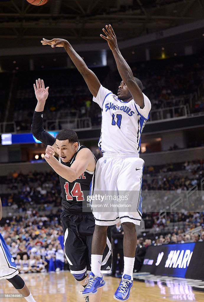 Mike Mcall Jr #11 of the Saint Louis Billikens shoots against the New Mexico State Aggies in the first half during the second round of the 2013 NCAA Men's Basketball Tournament at HP Pavilion on March 21, 2013 in San Jose, California.