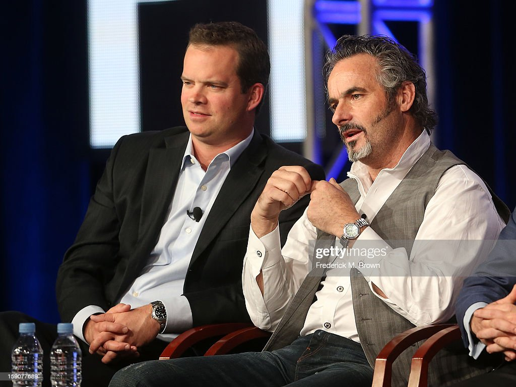 Mike McCarley President Golf Channel and David Feherty Host of 'Feherty' speak onstage at the 'Feherty In Play with Jimmy Roberts' panel discussion...