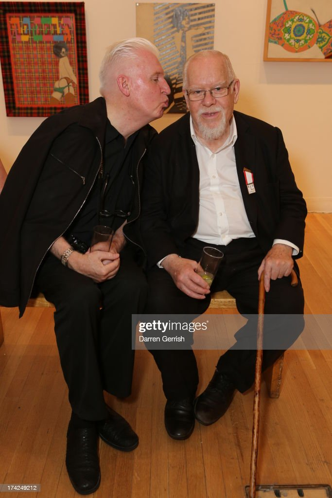 Mike McCarthy and Sir Peter Blake attends the Ian Dury More Than Fair exhibition at Royal College of Art on July 22 2013 in London England