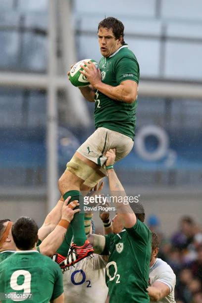 Mike McCarthy of Ireland wins lineout ball during the RBS Six Nations match between Ireland and England at Aviva Stadium on February 10 2013 in...